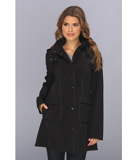 DKNY - Snap Front Hooded Soft Shell (Black) Women's Coat