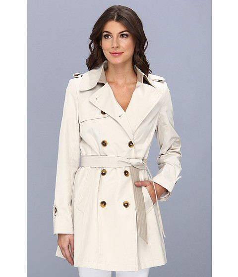 DKNY - Belted Trench With Color Block Details (Muslin) Women