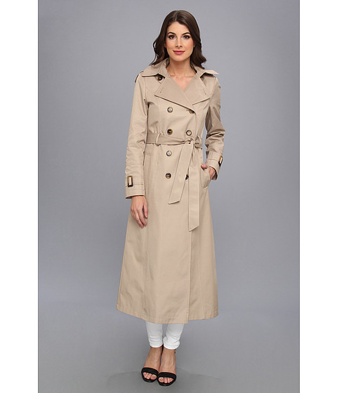 DKNY - Long Maxi Belted Trench With Hood (Sand) Women