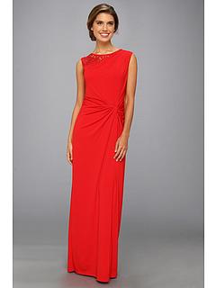 SALE! $44.99 - Save $103 on Ellen Tracy Lace Detail Gathered Sleeveless Gown (Red) Apparel - 69.60% OFF $148.00