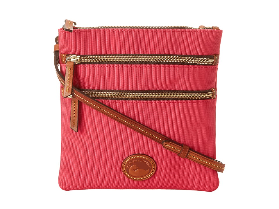 Dooney & Bourke - Nylon North/South Triple Zip (Hot Pink w/ Tan Trim) Cross Body Handbags