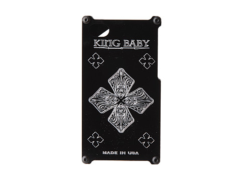 King Baby Studio - MB Cross Engraved Phone Case for iPhone 4 and 4s (Black) Cell Phone Case