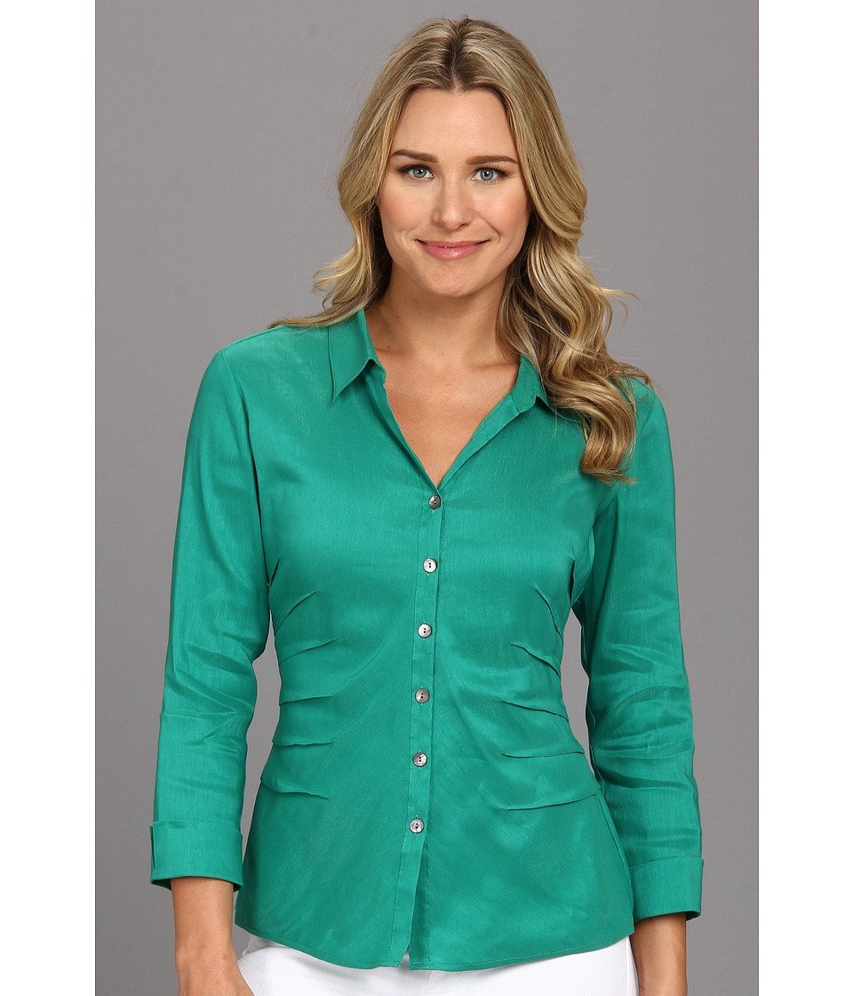 NIC+ZOE - Side Ruched Shirt (Terrace) Women's Long Sleeve Button Up