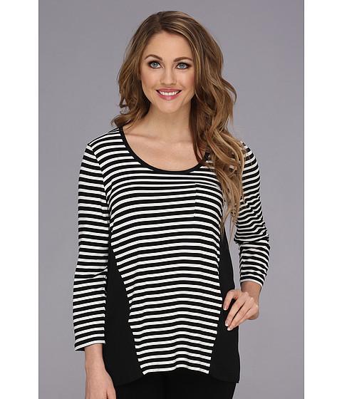 NYDJ - Mix Media Stripe Pocket Top (Black/White) Women