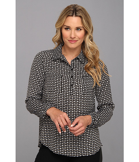 NYDJ - Mod Geo Print Blouse (Black) Women's Blouse