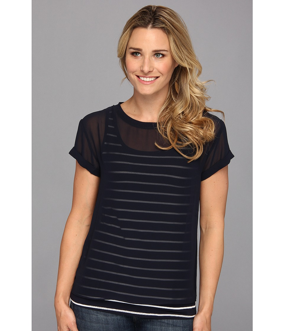 NYDJ - Striped Veiled Layers Tee (Mediterranean) Women's Short Sleeve Pullover