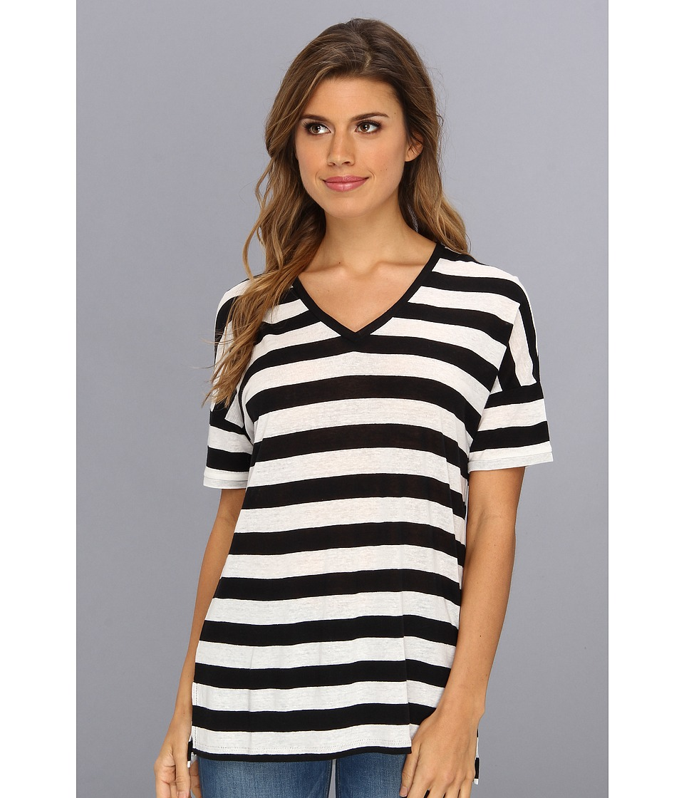 NYDJ - Rugby Stripe V-Neck (Black) Women's Short Sleeve Pullover