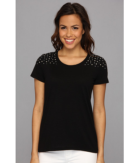 NYDJ - Studded Shoulder Tee (Black) Women's Short Sleeve Pullover
