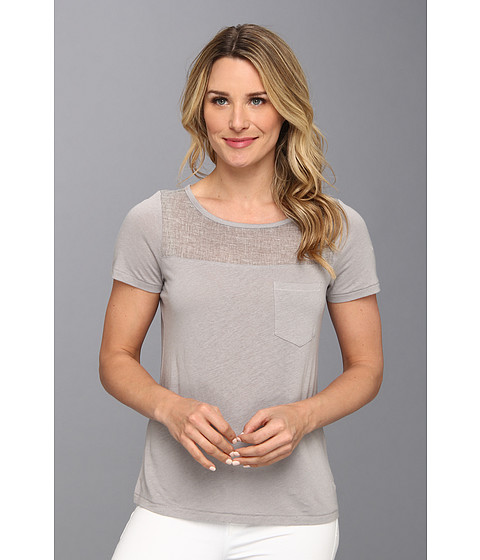 NYDJ - Veiled Knit Pocket Tee (Slate Grey) Women's Short Sleeve Pullover