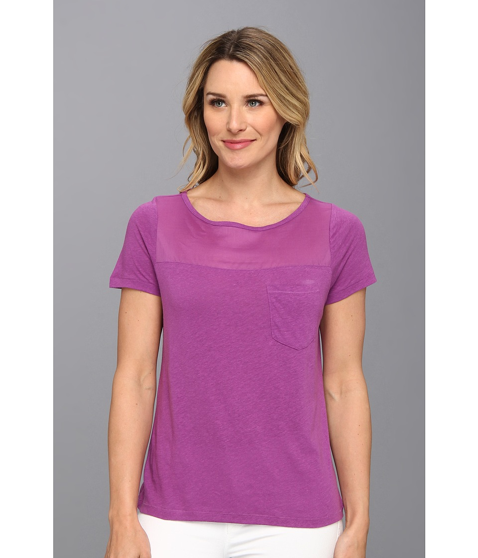 NYDJ - Veiled Knit Pocket Tee (Dahlia) Women's Short Sleeve Pullover