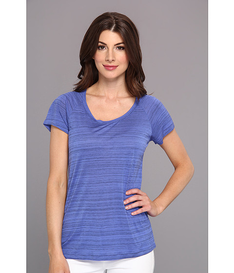 NYDJ - Etched Stripe Tee (Porcelain Blue) Women's T Shirt