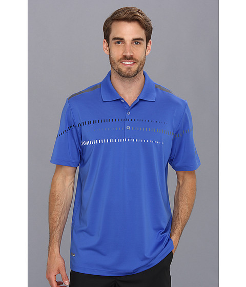 adidas Golf - Puremotion CLIMACOOL Digital Print Polo '14 (Vivid Blue/Lead/Black/White) Men's Short Sleeve Pullover