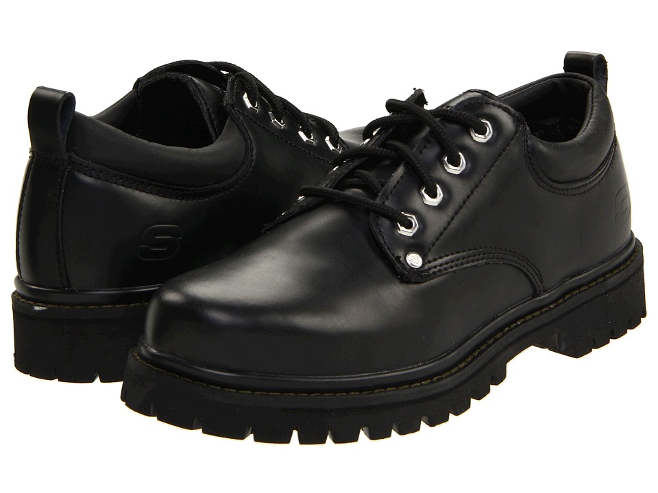 SKECHERS - Alley Cats (Black Oily Leather) Men's Lace up casual Shoes
