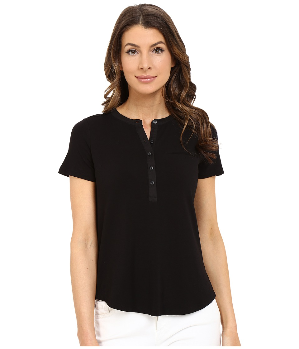 NYDJ - Pleat Back Knit Top (Black) Women's T Shirt