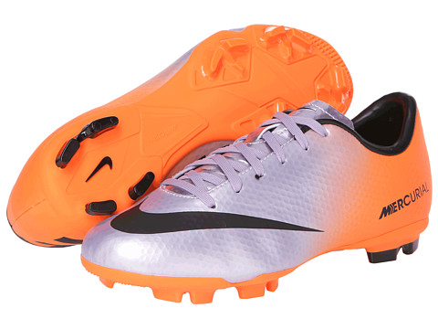 Nike Kids - Jr Mercurial Victory IV FG Soccer (Little Kid/Big Kid) (Metallic Purple/Orange) Kids Shoes