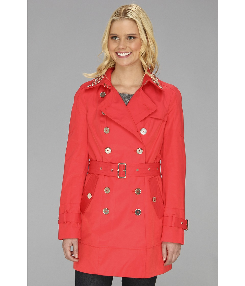 Sam Edelman - DB Trench w/ Studded Collar L3S07004 (Hibiscus) Women's Coat