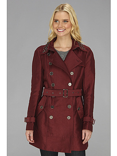 SALE! $76.99 - Save $223 on Sam Edelman DB Solid Trench w Studded Collar (Wine) Apparel - 74.34% OFF $300.00