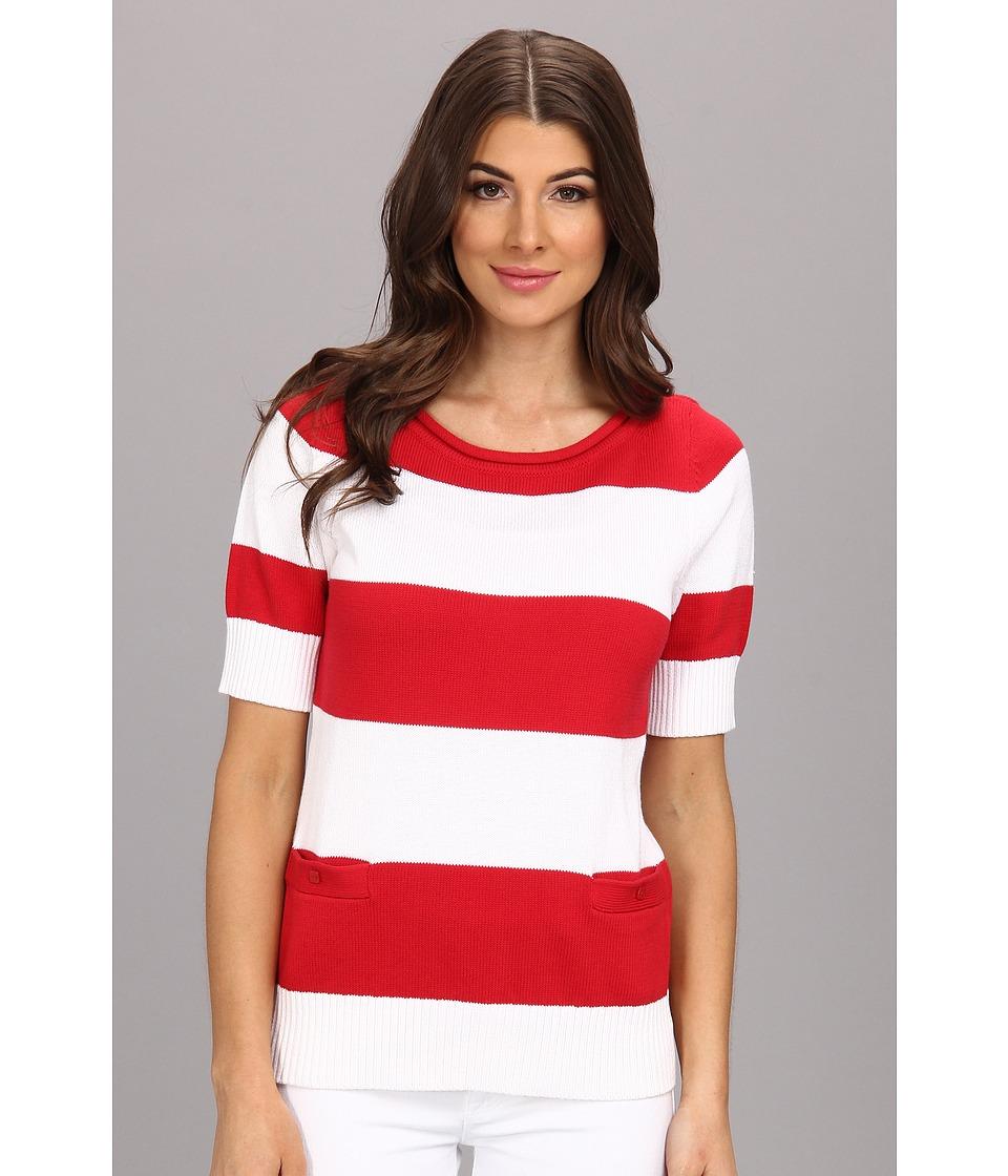 Pendleton - Two Stripe Pullover (White/Fiesta Red) Women