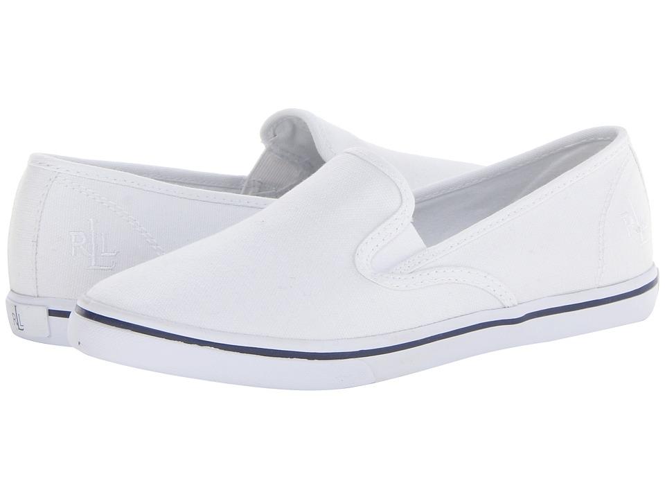 LAUREN Ralph Lauren - Janis (RL White Canvas) Women's Slip on Shoes