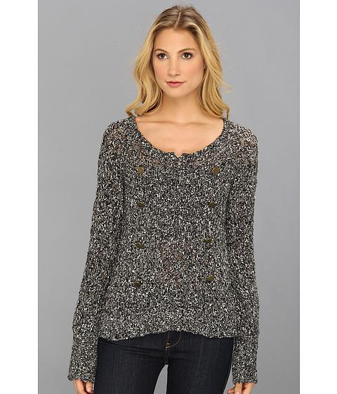 LAmade - Chunky Slub Boat Neck Raglan (Black/Cream) Women's Sweater