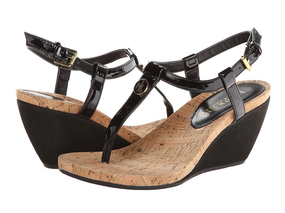 LAUREN Ralph Lauren - Reeta (Black Patent Suede PU) Women's Sandals