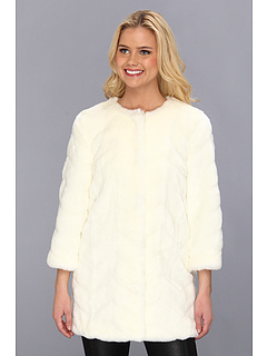 SALE! $89.99 - Save $210 on Sam Edelman Faux Fur Chevron Jacket (Cream) Apparel - 70.00% OFF $300.00