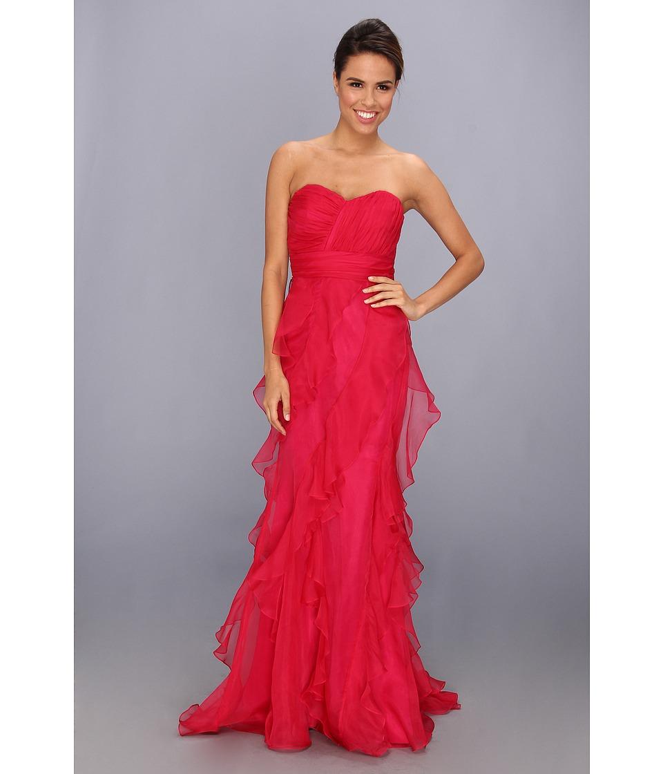 Badgley Mischka Strapless Organza Gown Ruffle Skirt Womens Dress (Pink)