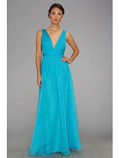 SALE! $296.99 - Save $297 on Badgley Mischka Solid Version V Neck Gown (Aqua) Apparel - 50.00% OFF $594.00