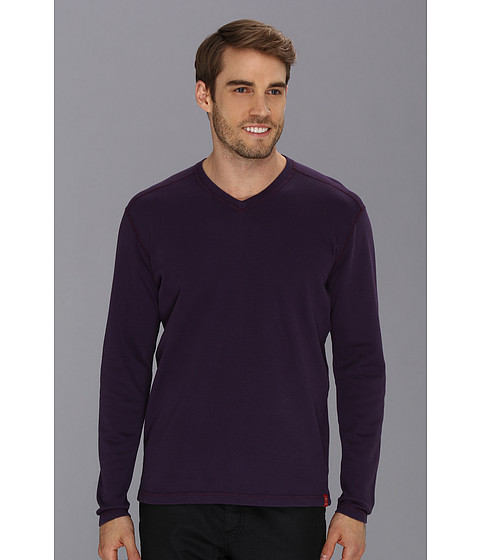 Agave Denim - M. Biolos L/S V-Neck (Purple Pennant) Men's T Shirt
