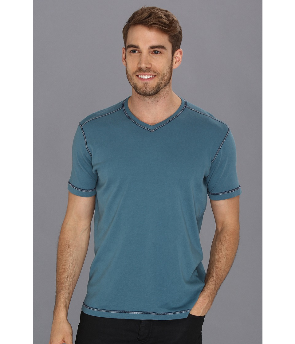 Agave Denim - D. Anderson S/S V-Neck (Blue Ashes) Men's Short Sleeve Pullover