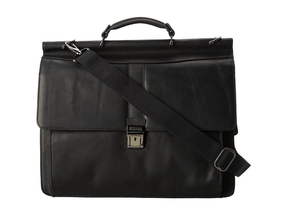 Kenneth Cole Reaction - Columbian Leather - 5.38 Double Gusset Dowel Rod Portfolio (Black) Computer Bags