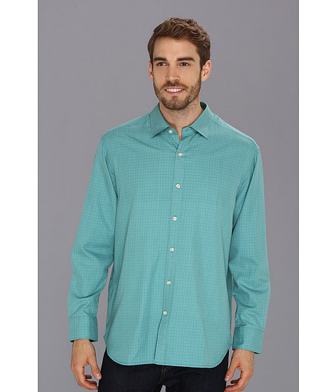 Tommy Bahama - Lunar Dobby L/S Shirt (Seascape Turquoise) Men's Long Sleeve Button Up
