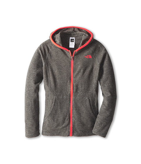 The North Face Kids - Glacier Full Zip Hoodie (Little Kids/Big Kids) (Zinc Grey Heather/Rocket Red) Girl