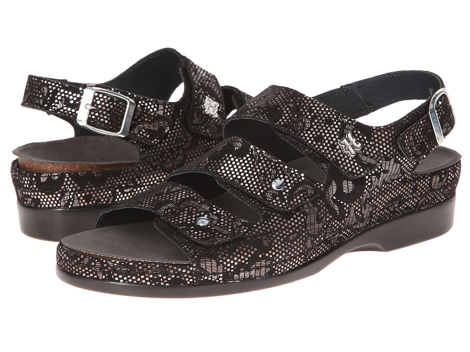 Helle Comfort - 356-F (Black Lace Flower) Women's Sandals