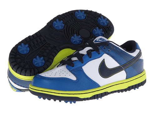Nike Golf - Dunk Jr. Golf (Little Kid/Big Kid) (White/Military Blue/Venom Green/Midnight Navy) Golf Shoes