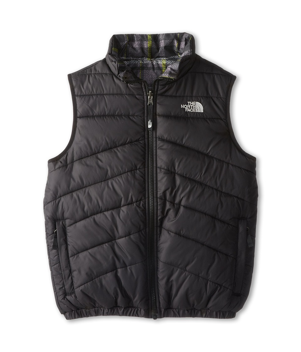 The North Face Kids - Reversible Perrito Vest (Little Kids/Big Kids) (TNF Black/Foil Grey/Medieval Grey Plaid) Boy