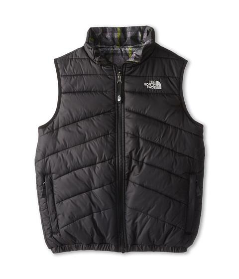 The North Face Kids - Reversible Perrito Vest (Little Kids/Big Kids) (TNF Black/Foil Grey/Medieval Grey Plaid) Boy