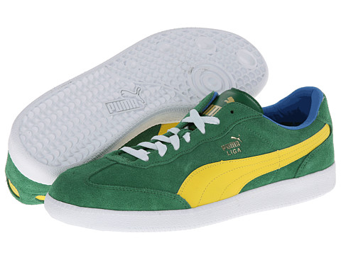 PUMA - Liga Suede Classic (Medium Green/Vibrant Yellow/French Blue) Classic Shoes