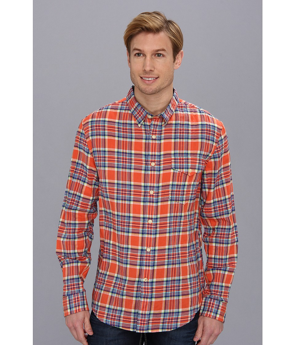 Dockers Men's - Alpha Wrinkle L/S Slim Fit Twill Shirt (Tasso Coral 1) Men's Long Sleeve Button Up