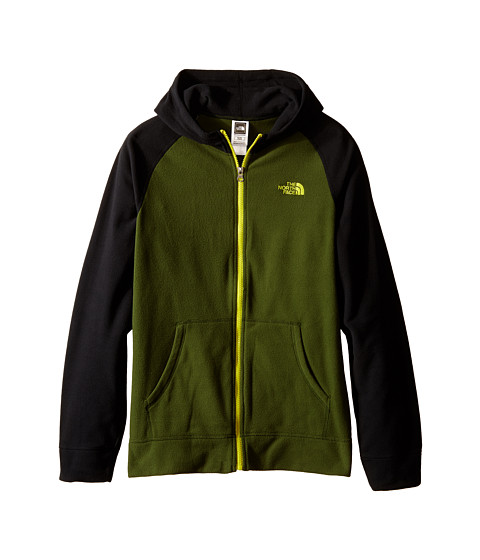 The North Face Kids - Glacier Full Zip Hoodie (Little Kids/Big Kids) (Scallion Green/TNF Black/Venom Yellow) Boy's Sweatshirt