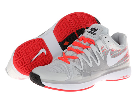 Nike - Zoom Vapor 9.5 Tour (Light Base Grey/Base Grey/Laser Crimson/White) Men's Tennis Shoes