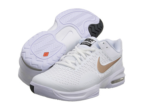 Nike - Air Max Cage (White/Metallic Summit White/Metallic Red Bronze) Women's Tennis Shoes