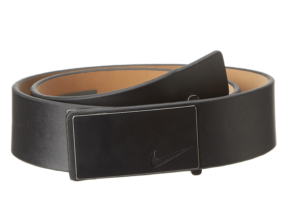 Nike - Sleek Modern Plaque (Black) Men's Belts