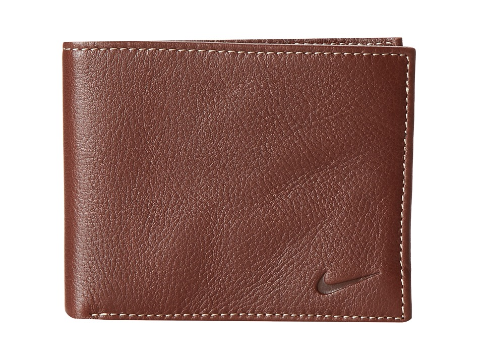 Nike - Pebble Grain Leather Pass Case (Brown) Travel Pouch