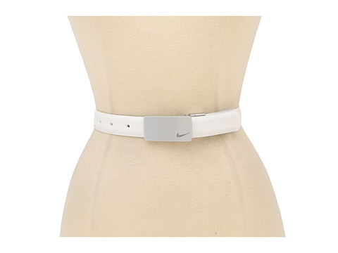 Nike - Metallic Plaque Reversible (White/Black) Women's Belts
