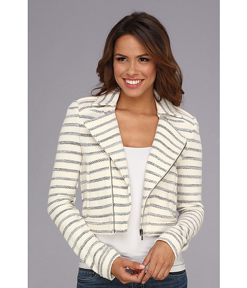 BCBGMAXAZRIA - Levi Striped Jacket (Navy Stripe Combo) Women's Coat