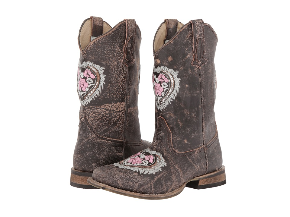 Roper Kids - Square Toe w/ Heart Glitter (Toddler/Little Kid) (Brown) Cowboy Boots