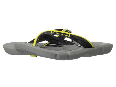 Havaianas - Power Flip Flops (Grey/Black/Yellow) Men's Sandals