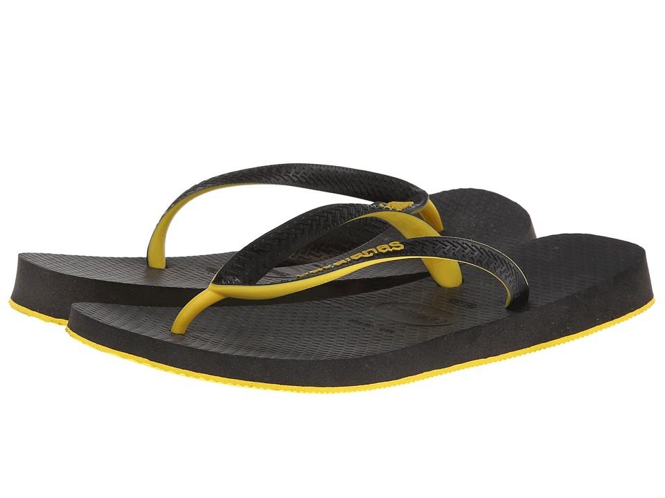 Havaianas - Top Tred Flip Flops (Black/Yellow) Men