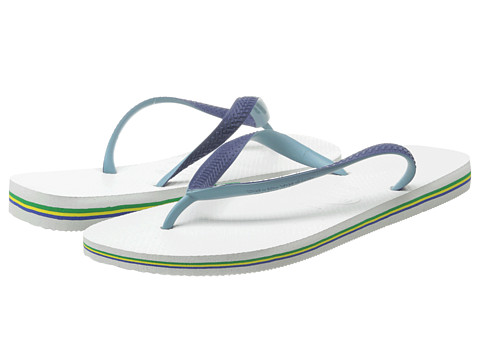 Havaianas - Brazil Mix Flip Flops (White/Navy Blue) Men